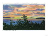 Lake Champlain, New York - Sunset over the Lake, Adirondack Mts in Distance Posters by  Lantern Press