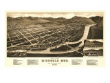 Montana - Panoramic Map of Missoula No. 1 Posters