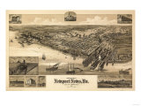 Newport News, Virginia - Panoramic Map Posters