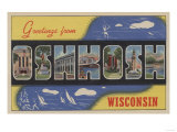 Oshkosh, Wisconsin - Large Letter Scenes Print by  Lantern Press