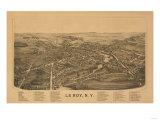 Le Roy, New York - Panoramic Map Print by  Lantern Press