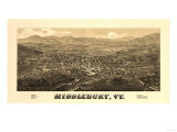 Middlebury, Vermont - Panoramic Map Poster