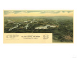 Oconomowoc Waukesha, Wisconsin - Panoramic Map Poster