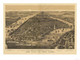 New York City, New York - Panoramic Map Poster by  Lantern Press