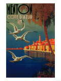 Menton, France - French Riviera Travel Poster No. 1 Posters by  Lantern Press