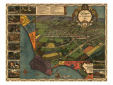 Los Angeles, California - Panoramic Map No. 1 Posters