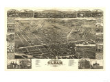 Olean, New York - Panoramic Map Posters by  Lantern Press