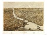 Oshkosh, Wisconsin - Panoramic Map Posters by  Lantern Press