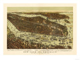 New York City, New York - Panoramic Map Posters by  Lantern Press