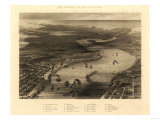 New Orleans, Louisiana - Panoramic Map Print