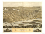 Portage, Wisconsin - Panoramic Map Print by  Lantern Press