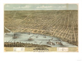 Memphis, Tennessee - Panoramic Map Posters