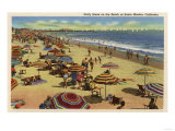 Santa Monica, California - A Daily Scene on the Beach Print by  Lantern Press