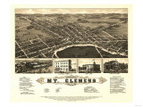 Mount Clemens, Michigan - Panoramic Map Poster
