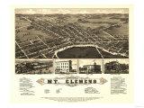Mount Clemens, Michigan - Panoramic Map Poster