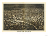 Minneapolis, Minnesota - Panoramic Map Poster