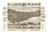 Madison, Wisconsin - Panoramic Map No. 1 Poster by  Lantern Press
