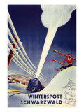 Germany - Skiing in the Black Forest Poster by  Lantern Press