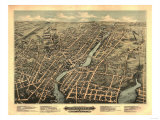 Pawtucket, Rhode Island - Panoramic Map Poster