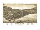 Madison, Wisconsin - Panoramic Map No. 2 Posters