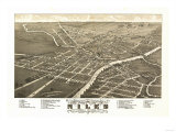 Niles, Ohio - Panoramic Map Posters by  Lantern Press