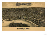 Moline, Illinois - Panoramic Map Posters