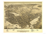 Portsmouth, New Hampshire - Panoramic Map Posters by  Lantern Press