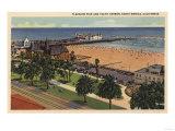 Santa Monica, California - Aerial of Pleasure Pier & Yacht Harbor Posters by  Lantern Press