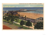 Santa Monica, California - Aerial of Pleasure Pier & Yacht Harbor Posters