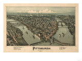 Pittsburgh, Pennsylvania - Panoramic Map Posters by  Lantern Press