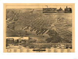 Muskegon, Michigan - Panoramic Map Print by  Lantern Press