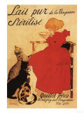 Paris, France - Vingeanne Milk Girl with Cats Advertisement Poster Print