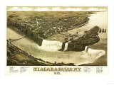 Niagara Falls, New York - Panoramic Map Poster by  Lantern Press