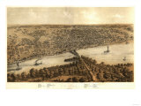 Peoria, Illinois - Panoramic Map Print
