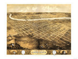 Lawrence, Kansas - Panoramic Map Kunstdruck