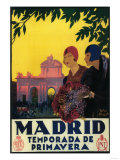 Madrid, Spain - Madrid in Springtime Travel Promotional Poster Kunstdruck von  Lantern Press