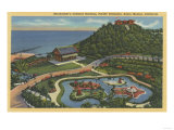 Santa Monica, California - Aerial of Bernheimer's Oriental Garden Poster by  Lantern Press