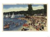 Lake Arrowhead, California - Swimmers on Bathing Cove Beach Print by  Lantern Press