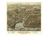 Plattsburgh, New York - Panoramic Map Print