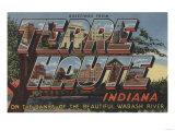 Terre Haute, Indiana - Wabash River Plakat autor Lantern Press
