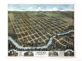 Ottawa, Kansas - Panoramic Map Poster