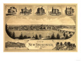 New Brunswick, New Jersey - Panoramic Map Posters