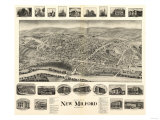 New Milford, Connecticut - Panoramic Map Print by  Lantern Press