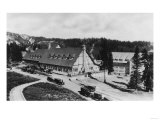 Rainier National Park - Paradise Inn with Old Cars Print by  Lantern Press