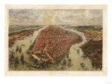 New York City, New York - Panoramic Map Print by  Lantern Press