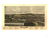 Machias, Maine - Panoramic Map Print by  Lantern Press