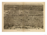 Philadelphia, Pennsylvania - Panoramic Map Print