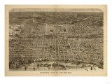Philadelphia, Pennsylvania - Panoramic Map Print