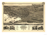 Nantucket, Massachusetts - Panoramic Map Poster