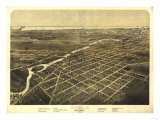 Monroe, Michigan - Panoramic Map Posters by  Lantern Press